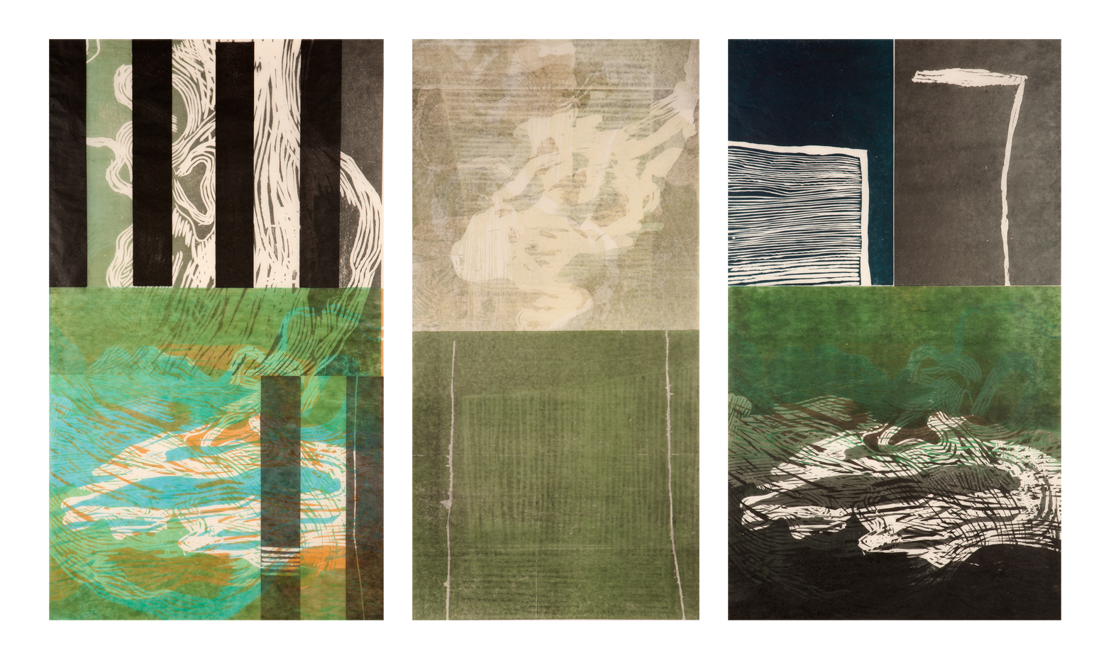 Enclosure and the river triptych, 3 unique state relief prints each 120 x 60 cm on Chinese handmade paper, 2014