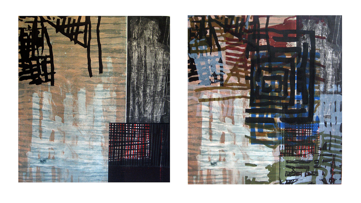 The Game 1/4 and End Game UP, mixed media prints, 77 x 70 each, 2015
